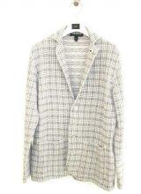 LARDINI/ニットジャケット GREY  WHITE  CHECK