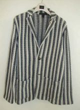 LARDINI/ニットジャケット NAVY  WHITE  STRIPE